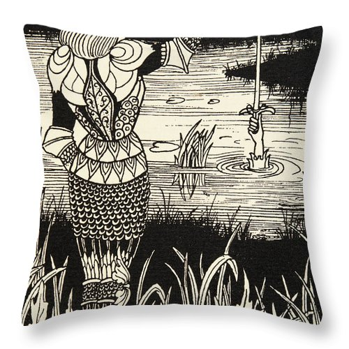Lady Of The Lake Throw Pillow featuring the drawing How Sir Bedivere Cast The Sword Excalibur Into The Water by Aubrey Beardsley