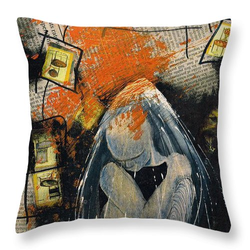 Collage Bubble Aura Thoughts Throw Pillow featuring the mixed media how by Veronica Jackson