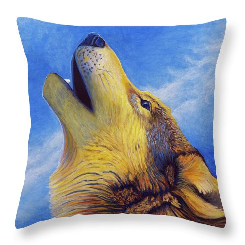 Wolf Throw Pillow featuring the painting Howl by Brian Commerford
