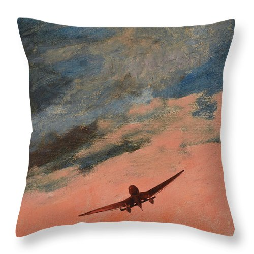 Luftwaffe Throw Pillow featuring the painting Howl by Oleg Konin