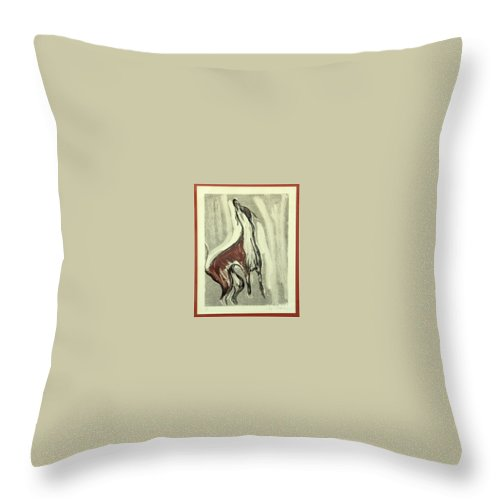 Monotype Throw Pillow featuring the mixed media Howling For Joy by Cori Solomon