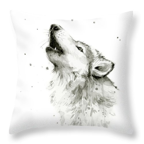 Watercolor Throw Pillow featuring the painting Howling Wolf Watercolor by Olga Shvartsur