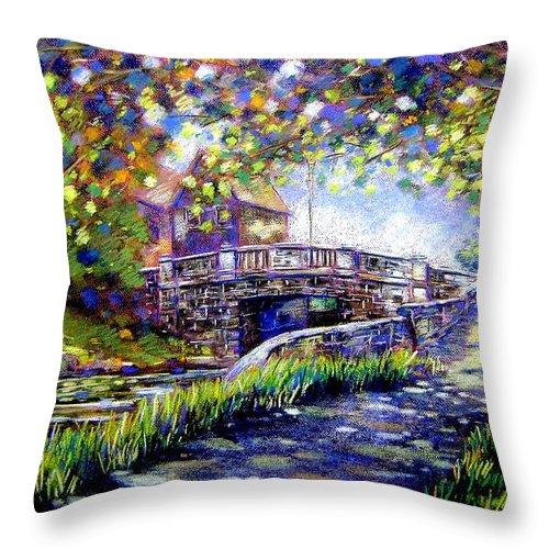 Pastel Throw Pillow featuring the pastel Huband Bridge Dublin City by John Nolan