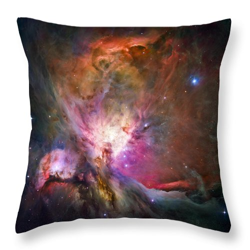 3scape Throw Pillow featuring the photograph Hubble's sharpest view of the Orion Nebula by Adam Romanowicz