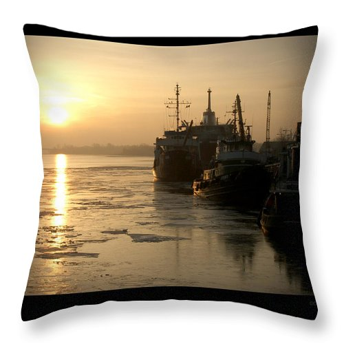 Boat Throw Pillow featuring the photograph Huddled Boats by Tim Nyberg