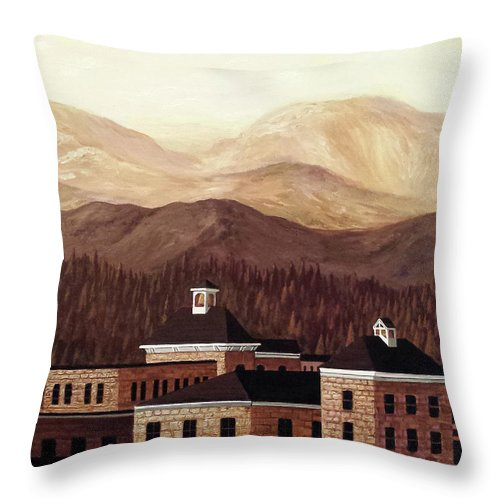Mountain Town Fairplay Colorado Sepia Tones Stone Buildings Throw Pillow featuring the painting Huddled Masses by Beth Waltz