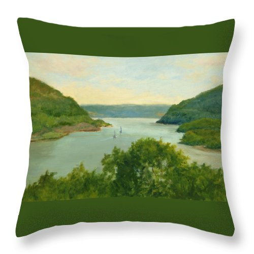 Hudson River Throw Pillow featuring the painting Hudson River From Bear Mt. by Phyllis Tarlow