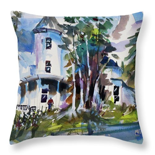 New York Throw Pillow featuring the painting Hudson River Victorian by Joseph Giuffrida