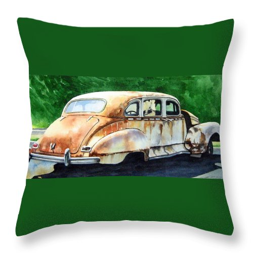Hudson Car Rust Restore Throw Pillow featuring the painting Hudson Waiting For A New Start by Ron Morrison