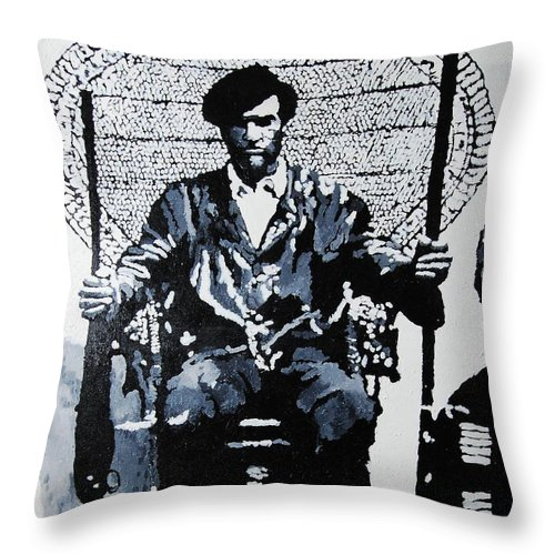 Black Panther Throw Pillow featuring the painting Huey Newton Minister Of Defense Black Panther Party by Lauren Luna