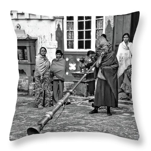 Ghoom Monastery Throw Pillow featuring the photograph Huff And Puff Bw by Steve Harrington