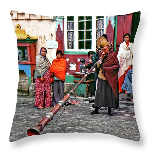 Ghoom Monastery Throw Pillow featuring the photograph Huff And Puff by Steve Harrington