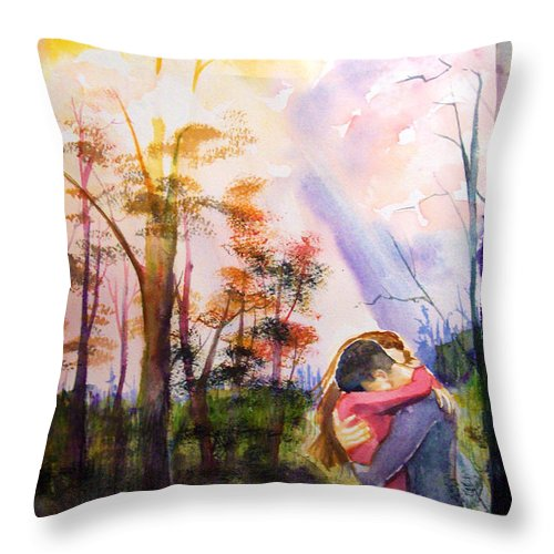 Landscape Throw Pillow featuring the painting hug by Laura Rispoli