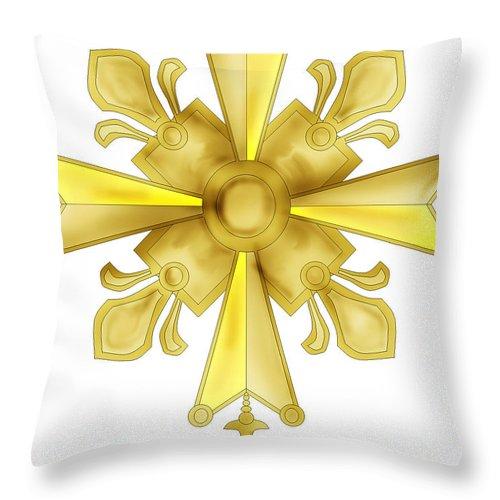 Christian Cross Throw Pillow featuring the painting Huguenot Golden Cross by Anne Norskog