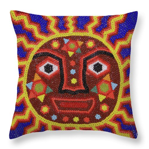 Mexico Throw Pillow featuring the photograph Huichol Beadwork Sun Mexico by John Mitchell