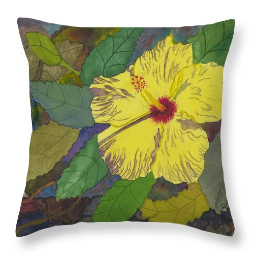 Hibiscus Throw Pillow featuring the painting Hula Girl Hibiscus by Robert Bates