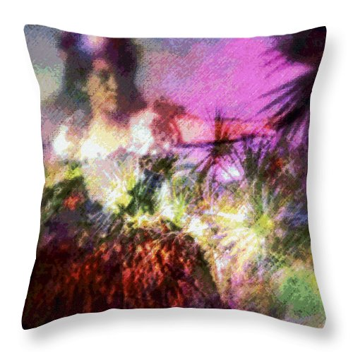 Tropical Interior Design Throw Pillow featuring the photograph Hula Mai Oe by Kenneth Grzesik