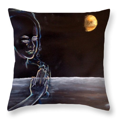Moon Throw Pillow featuring the painting Human Spirit Moonscape by Susan Moore