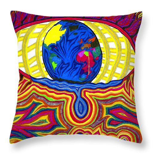 World Throw Pillow featuring the drawing Humanity Cries by Michelle Meaney