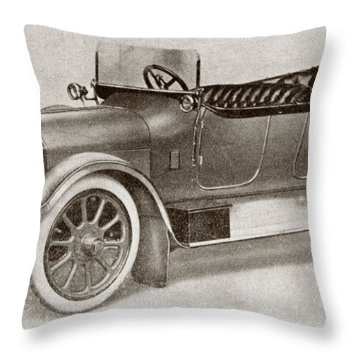 Auto Throw Pillow featuring the drawing Humber 14 Hp Model Of 1914. From La by Vintage Design Pics