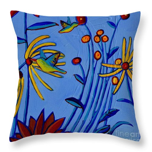 Daisies Throw Pillow featuring the painting Humming Along by Debra Bretton Robinson