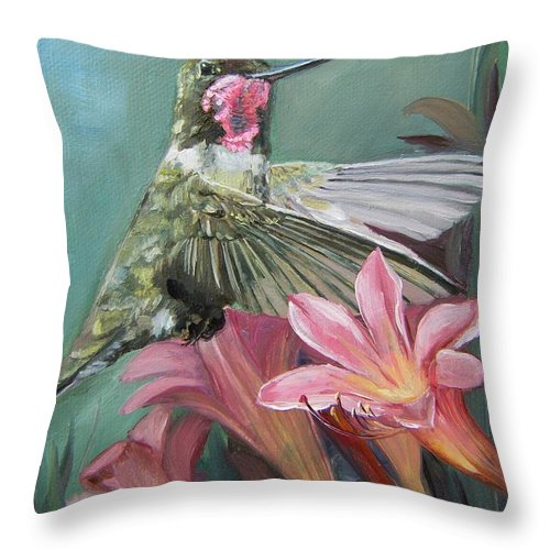 Humming Bird Anna Throw Pillow featuring the painting Humming Bird Anna by Mona Davis