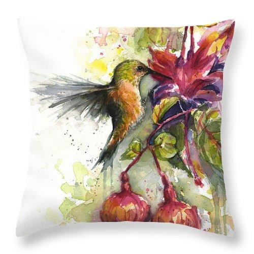 Hummingbird Throw Pillow featuring the painting Hummingbird and Fuchsia by Olga Shvartsur