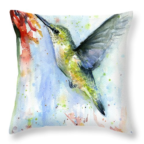 Watercolor Throw Pillow featuring the painting Hummingbird and Red Flower Watercolor by Olga Shvartsur