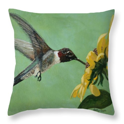 Birds Throw Pillow featuring the painting Hummingbird by Betty-Anne McDonald