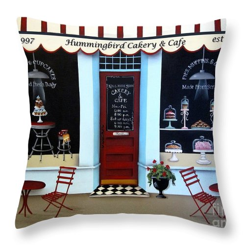 Art Throw Pillow featuring the painting Hummingbird Cakery And Cafe by Catherine Holman