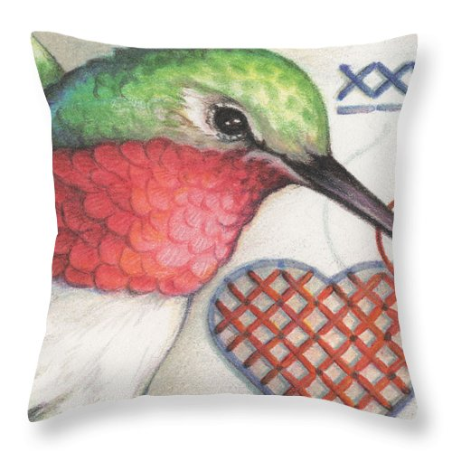 Hummingbird Throw Pillow featuring the drawing Hummingbird Handiwork by Amy S Turner