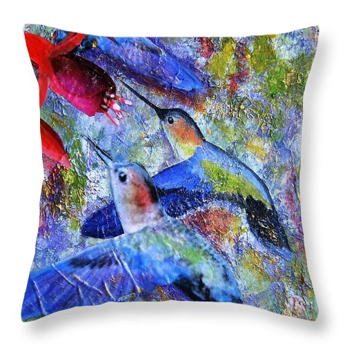 Humming Birds Throw Pillow featuring the painting Hummingbird Joy by Tami Booher