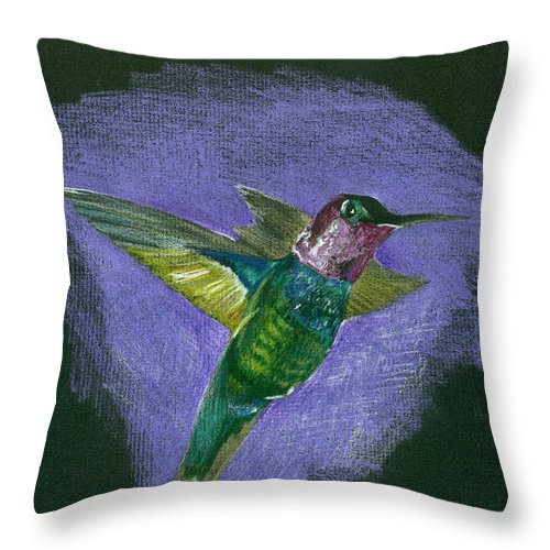 Bird Throw Pillow featuring the drawing Hummingbird by Mary Tuomi