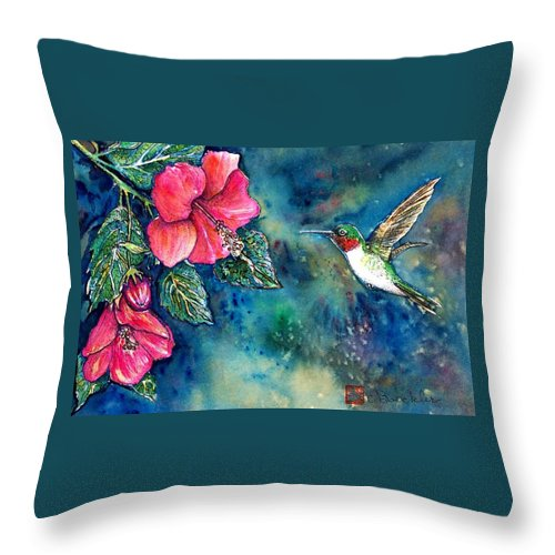 Birds Throw Pillow featuring the painting Hummingbird by Norma Boeckler