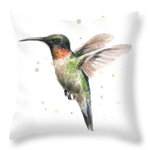 Animal Throw Pillow featuring the painting Hummingbird by Olga Shvartsur