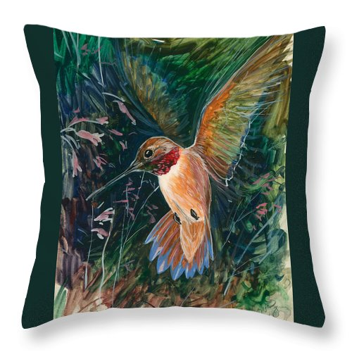 Hummingbird Throw Pillow featuring the painting Hummingbird by Shari Erickson
