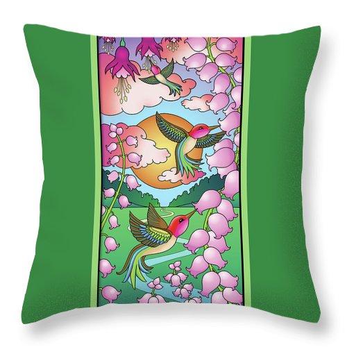 Hummingbirds Throw Pillow featuring the digital art Hummingbird Sunrise by Eleanor Hofer