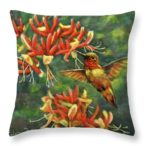 Ruby Throat Hummingbird Throw Pillow featuring the painting Hummingbird with Honey Suckles by Eileen Fong