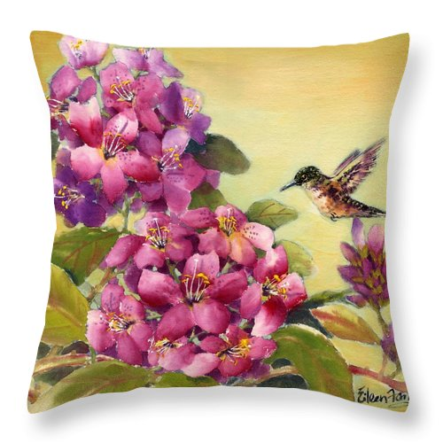 Broadtail Hummingbird Throw Pillow featuring the painting Hummingbird With Rhododendron by Eileen Fong
