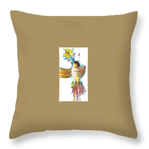 Prismacolor Permanent Pen Rendering Throw Pillow featuring the drawing Hummm by Charles Valentine