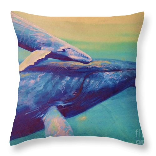 Keanart Throw Pillow featuring the painting Humpback Whale And Calf by Kean Butterfield