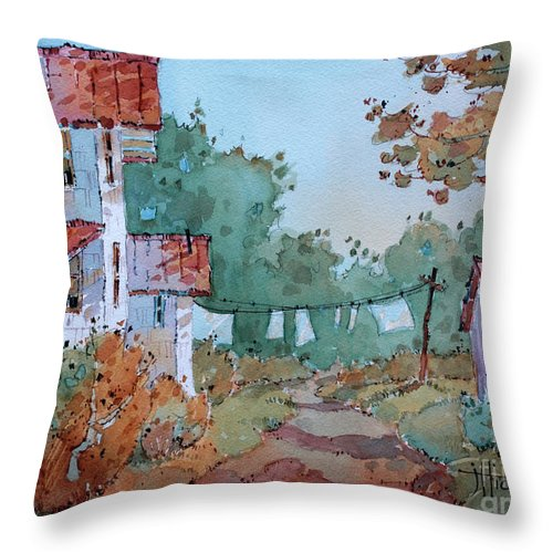 Country Throw Pillow featuring the painting Hung Out To Dry by Joyce Hicks
