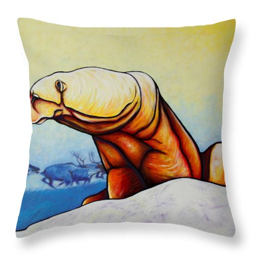 Wildlife Throw Pillow featuring the painting Hunger Burns - Polar Bear And Caribou by Joe Triano