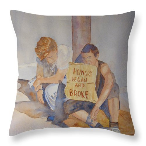Humorous Throw Pillow featuring the painting Hungry Vegan And Broke by Jenny Armitage