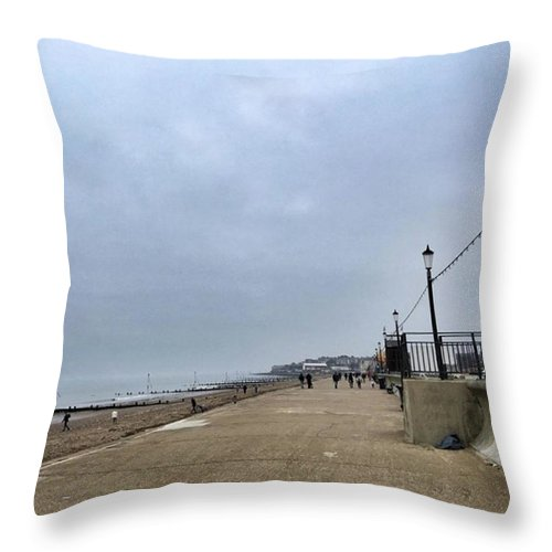 Beautiful Throw Pillow featuring the photograph Hunstanton At 4pm Yesterday As The by John Edwards