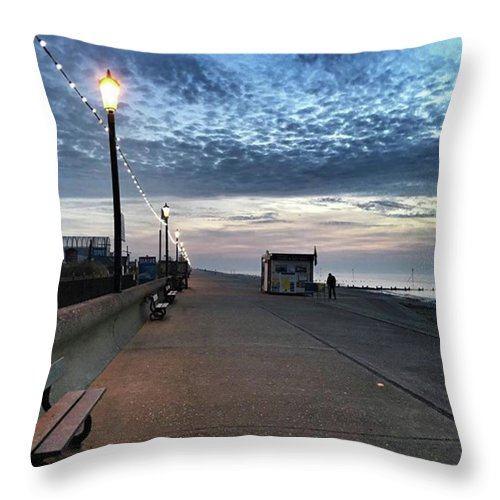 Beautiful Throw Pillow featuring the photograph Hunstanton At 5pm Today  #sea #beach by John Edwards