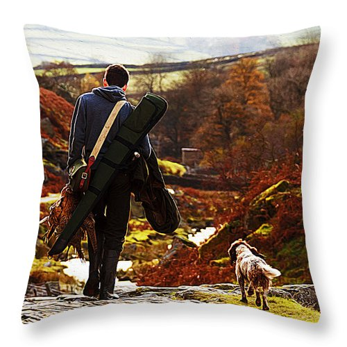 Dog Art Throw Pillow featuring the painting Hunter After The Hunt by Queso Espinosa