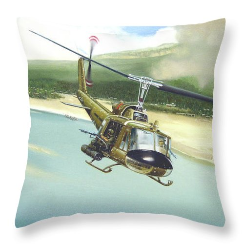 Military Throw Pillow featuring the painting Hunter Hueys by Marc Stewart
