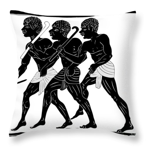Ancient Throw Pillow featuring the digital art Hunters by Michal Boubin