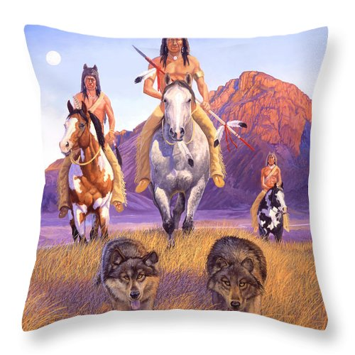 Indian Art Throw Pillow featuring the painting Hunters Of The Full Moon by Howard Dubois